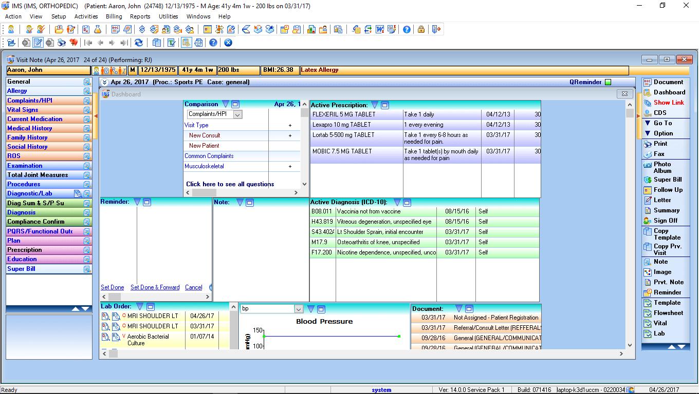 Orthopedic EMR Software Patient Dashboard