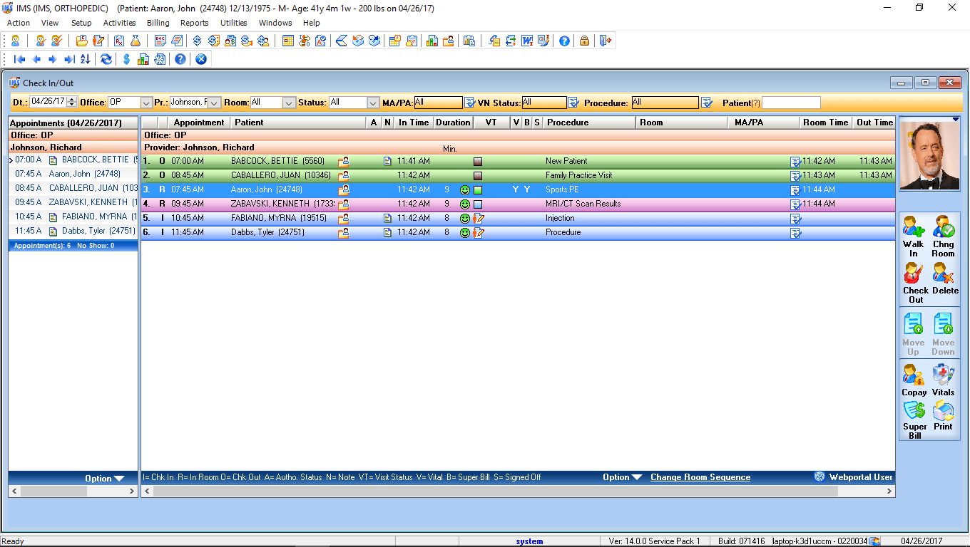 Orthopedic Surgery EMR Software Check-In/Check-Out