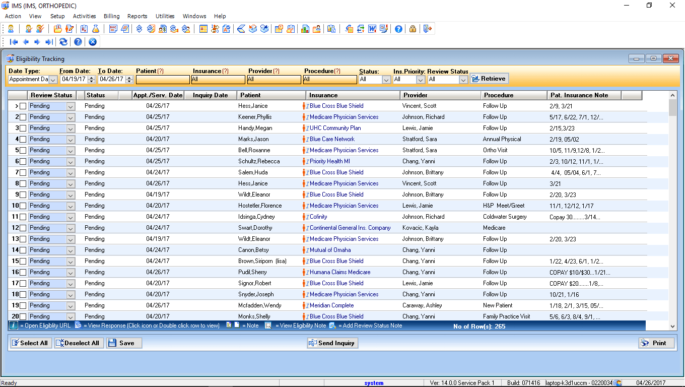 Orthopedic Surgery EMR Software Eligibility Tracking