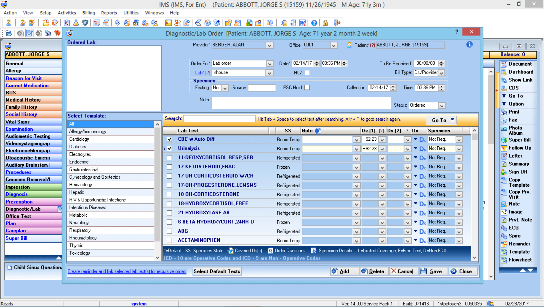 Otorhinolaryngology EMR Software Labs and Diagnostic