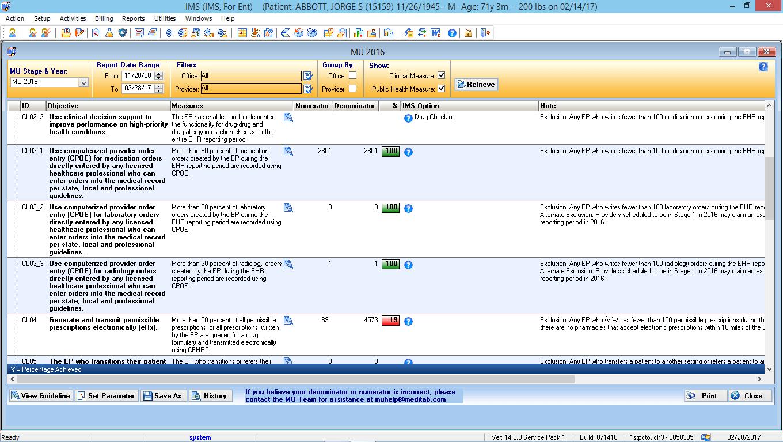 Otorhinolaryngology EMR Software Meaningful Use Dashboard