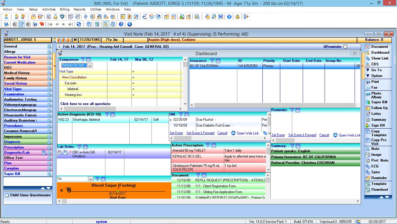 Otorhinolaryngology EMR Software Patient Dashboard