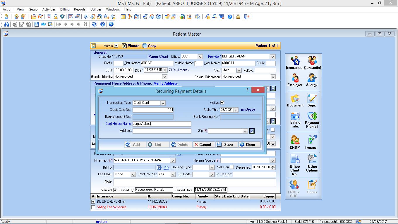 Otorhinolaryngology EMR Software Patient Payment Solutions