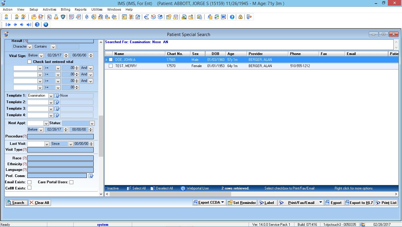 Otorhinolaryngology EMR Software Patient Special Search