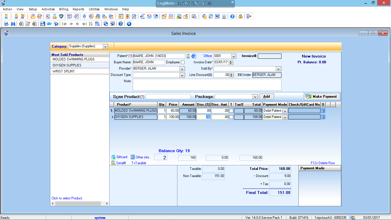 Otorhinolaryngology EMR Software Point of Sales Module