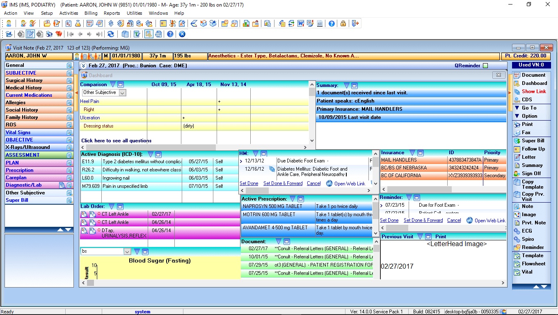 Podiatry EMR Patient Dashboard