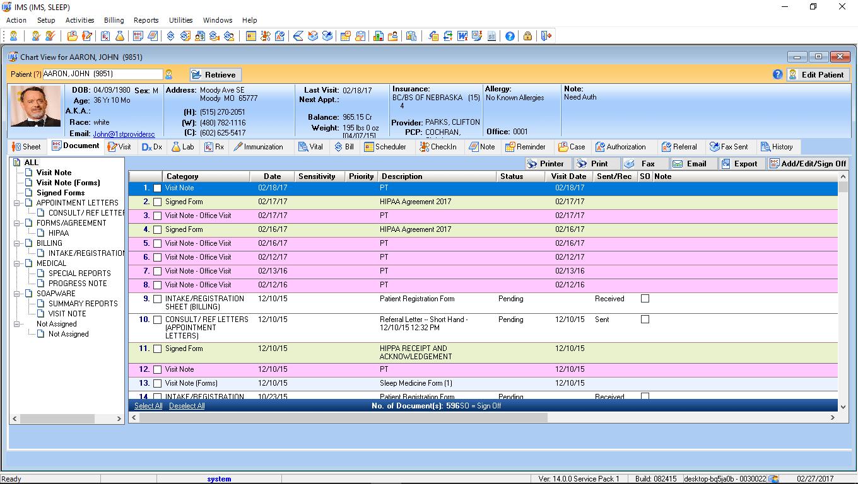 Sleep Medicine EMR Patient Electronic Health Record