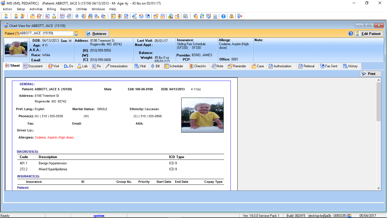 Pediatric EMR Patient Electronic Health Record