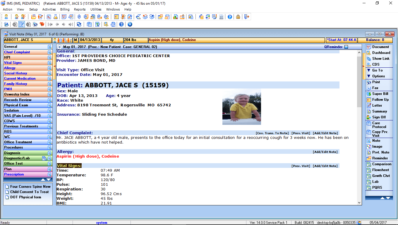 Pediatric EMR Software & Patient Visit Notes