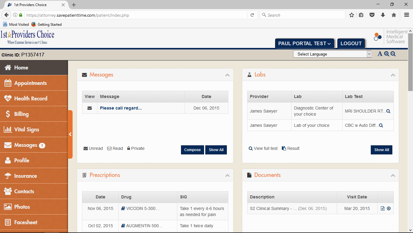 Pediatric EMR Patient Portal