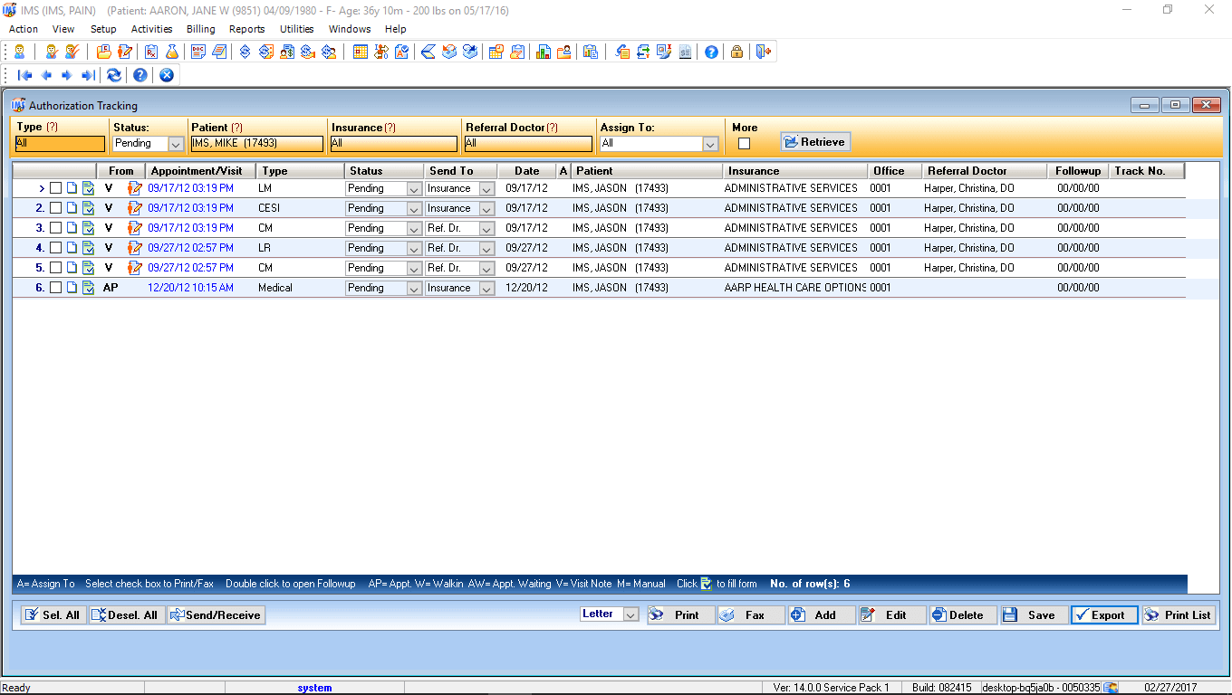Physical Medicine EMR Software Authorization Tracking