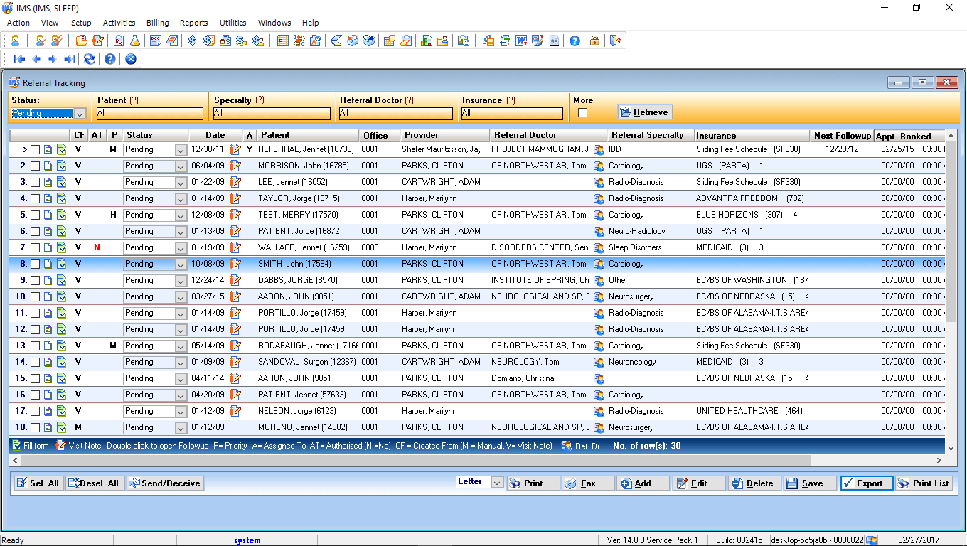 Sleep Medicine EMR Referral Tracking