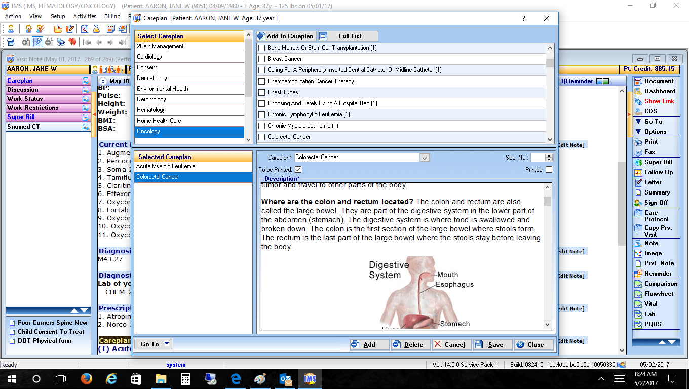 Hematology/Oncology EMR Software Careplan