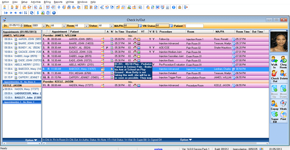 Acute Care EMR Software Check-In/Check-Out
