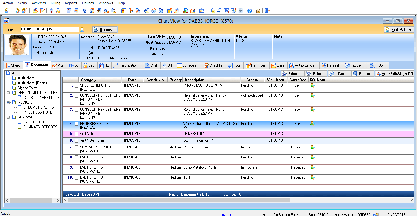 Acute Care EMR Software Patient Electronic Health Record