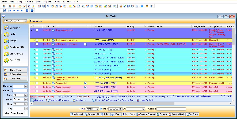 Multi-Specialty EMR Software Doctor Task List