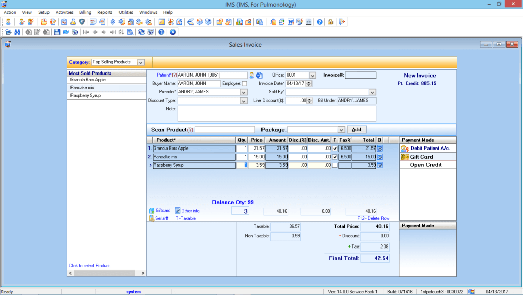 Pulmonology Point of Sales Module