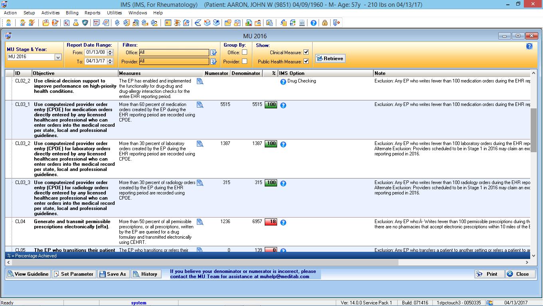 heumatology EMR Software MIPS Dashboard