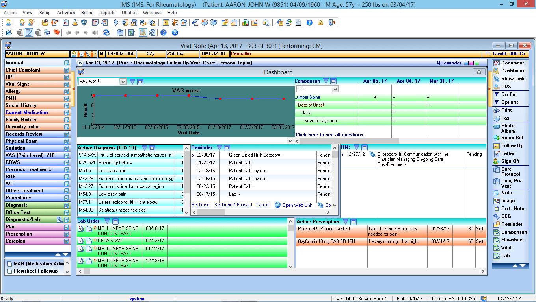 Rheumatology EMR Software Patient Dashboard