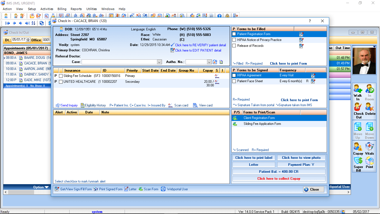 Urgent Care EMR Software Check-In
