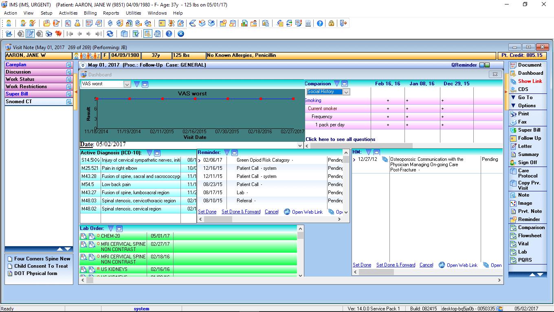 Urgent Care EMR Software Patient Dashboard