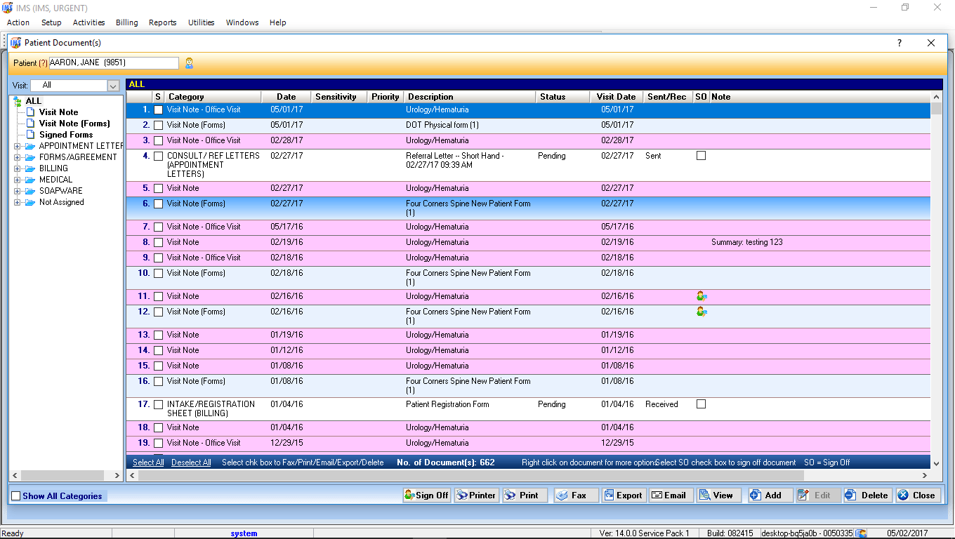 Urgent Care EMR Software Patient Documents