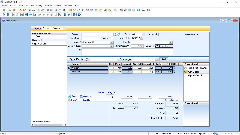Urgent Care EMR Software Point of Sales Module
