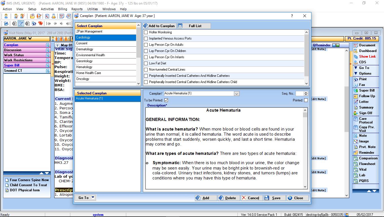 Urgent Care EMR Software Careplan