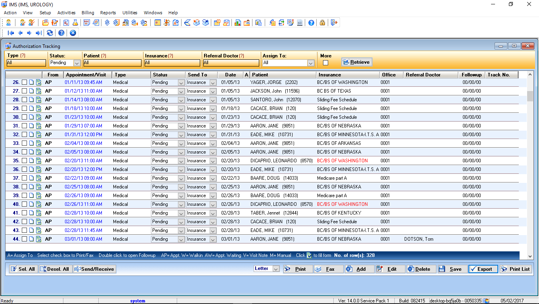 Urology EMR Software Authorization Tracking