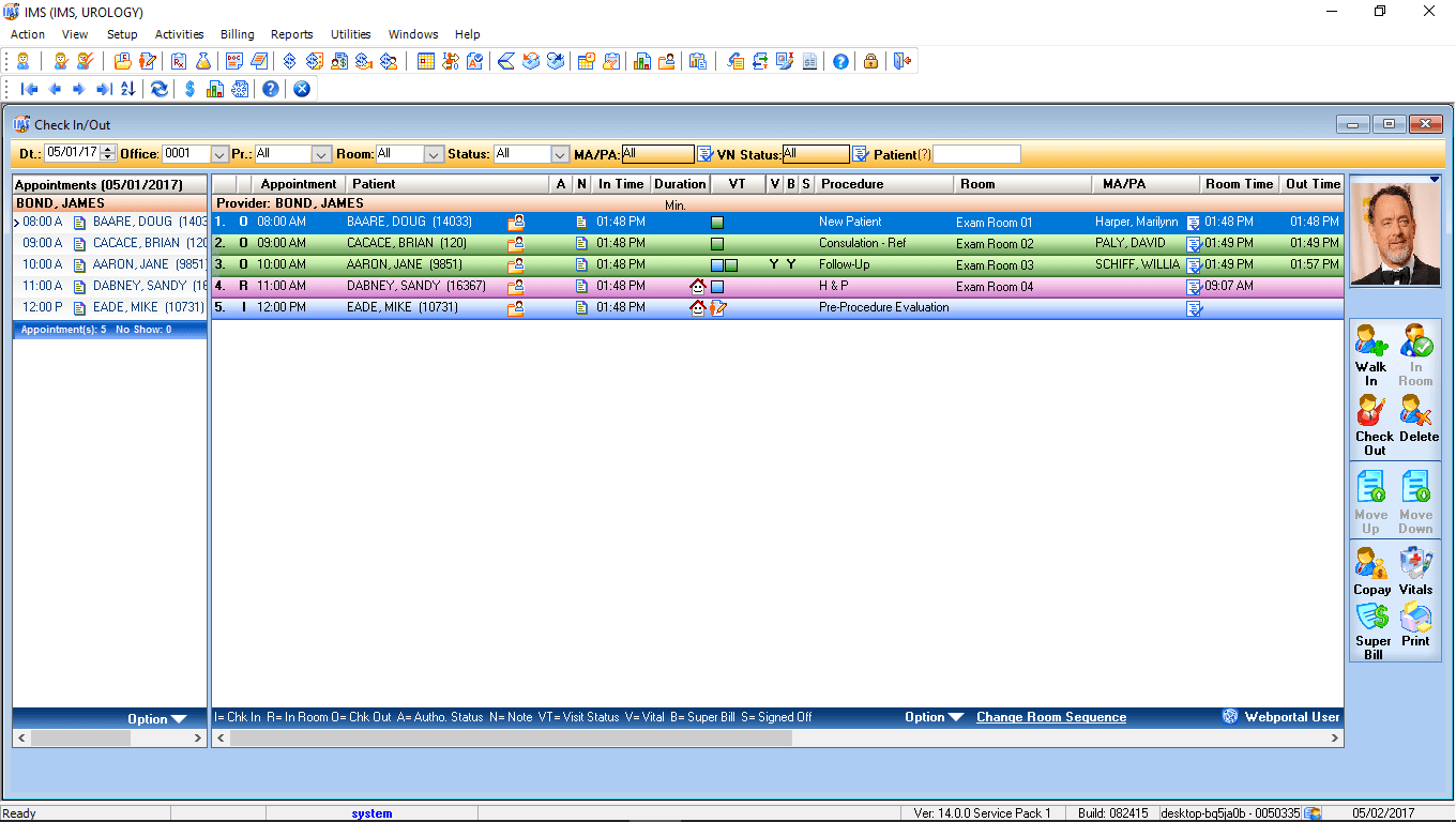 Urology EMR Software Check-In/Check-Out
