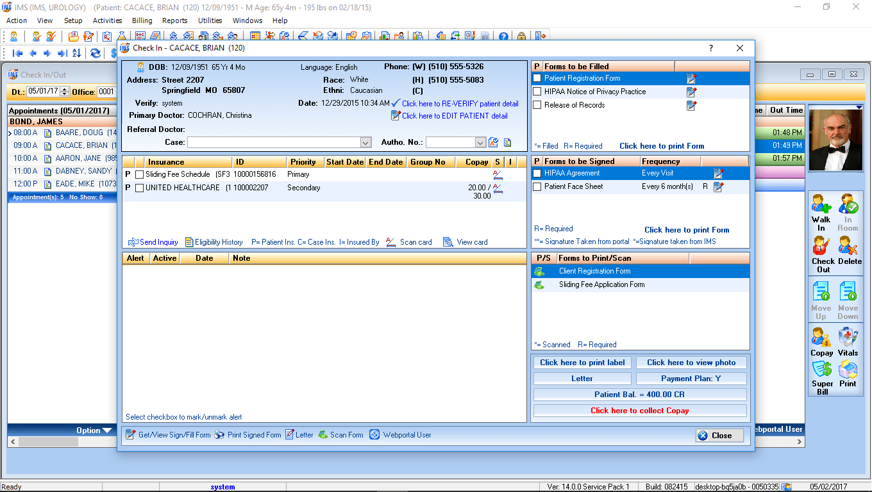 Urology EMR Software Check-In