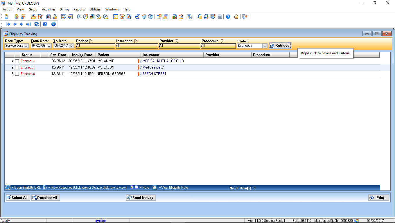 Urology EMR Software Eligibility Tracking