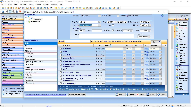 Urology EMR Software Labs & Diagnostic
