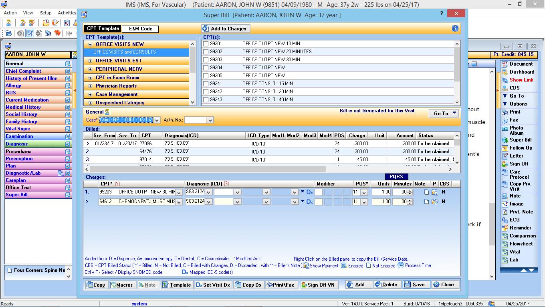 Vascular Surgery EMR Software Electronic Super Bill