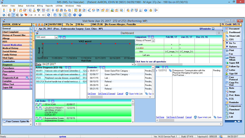 Vascular Surgery EMR Software Patient Dashboard