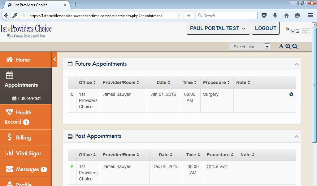 Pain Management Patient Portal My Appointments Past & Future