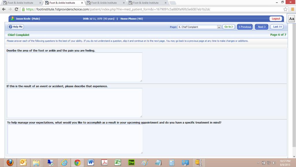 Patient Portal Chief Complaint Input Screen