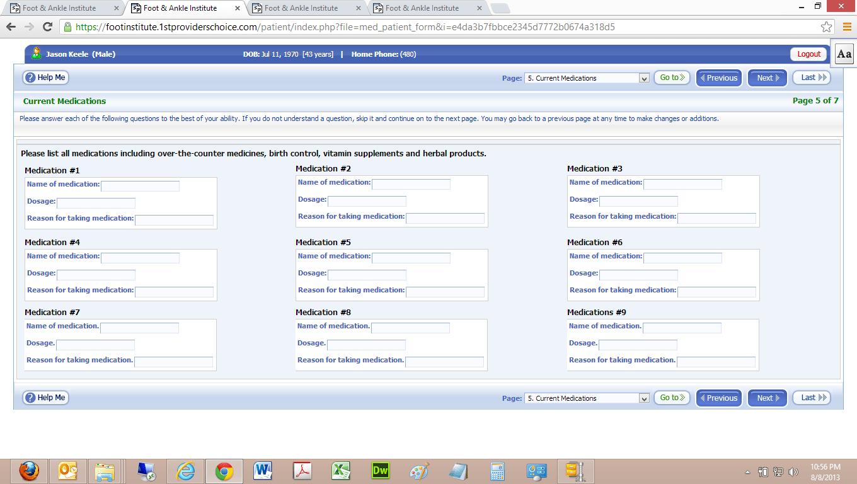 Patient Portal Current Medications Input Screen