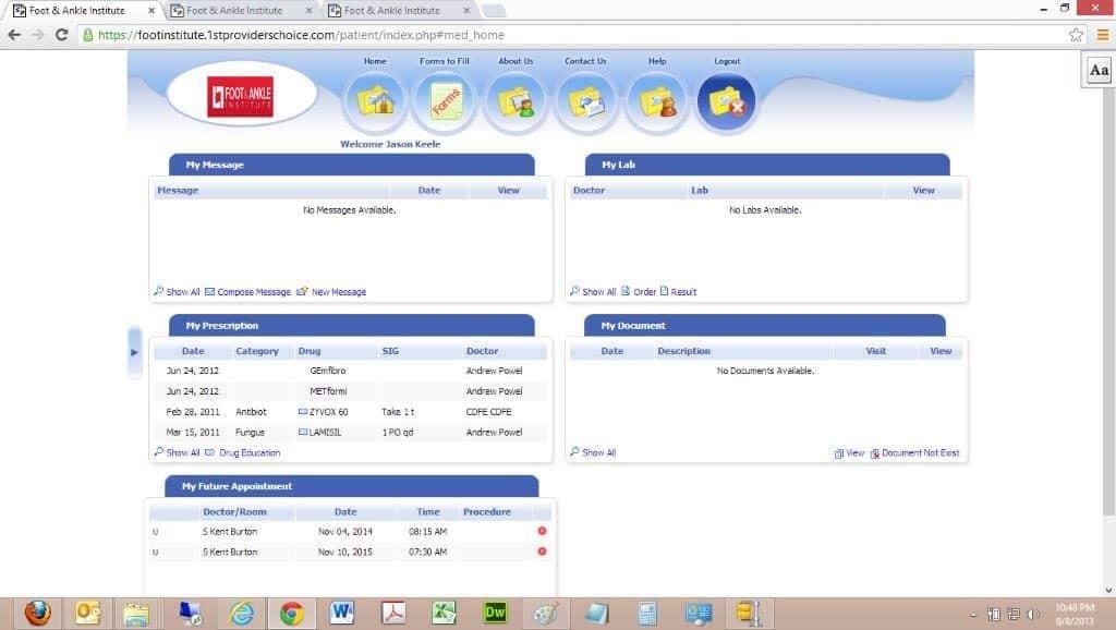 Patient Portal Patient Dashboard