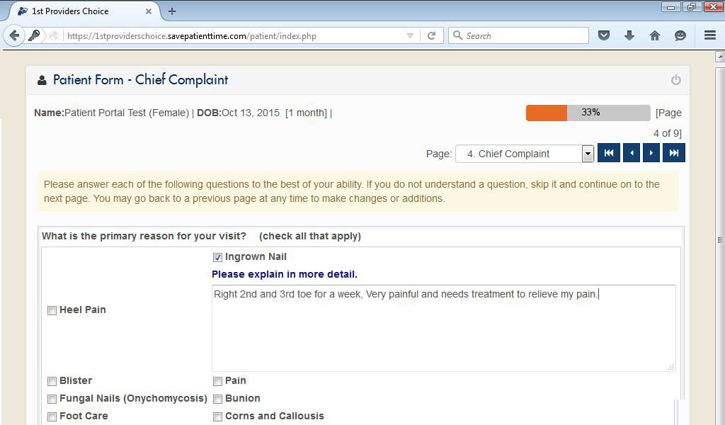 Podiatry Patient Portal Chief Complaint Input Screen