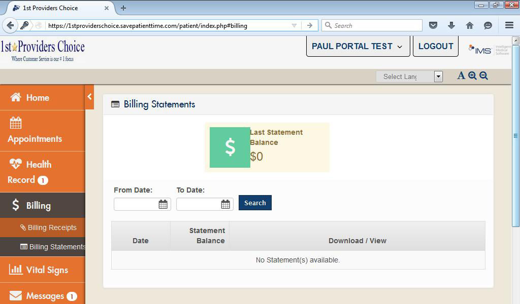 Podiatry Patient Portal Patient Billing Statements