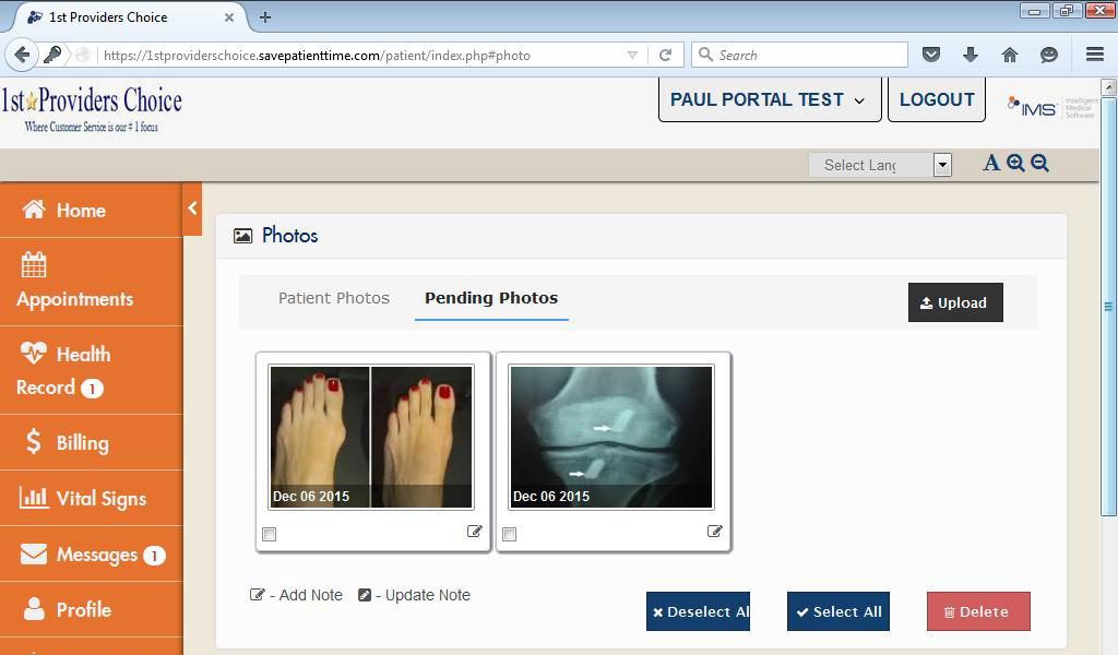 Podiatry Patient Portal Patient Photos