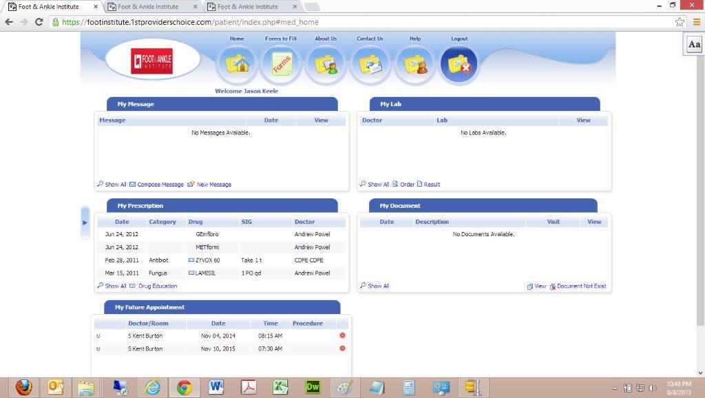 Patient Portal Patient Dashboard 1st Providers Choice