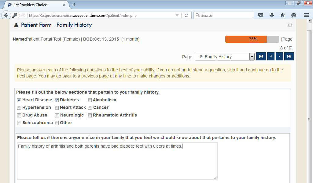 Chiropractic Patient Portal Past Medical History/Family History Input Screen