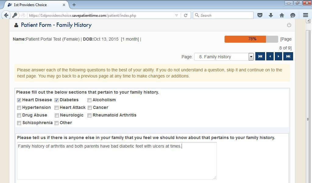 Internal Medicine Patient Portal Medical History Family History