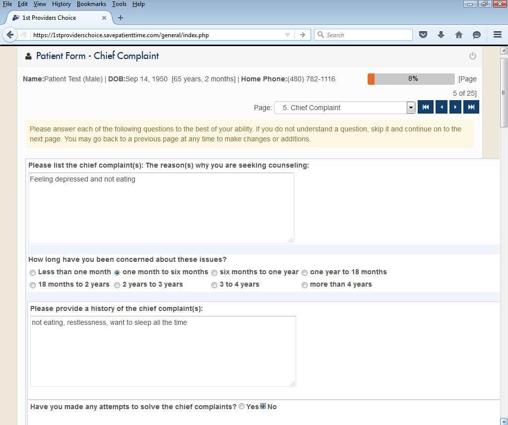 Mental Health Patient Portal Chief Complaint Input Screen
