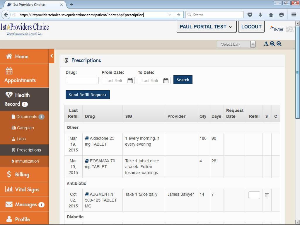 Oncology Patient Portal Prescriptions