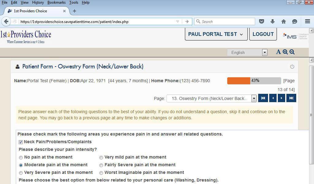 Oncology Patient Portal Questionnaire Form