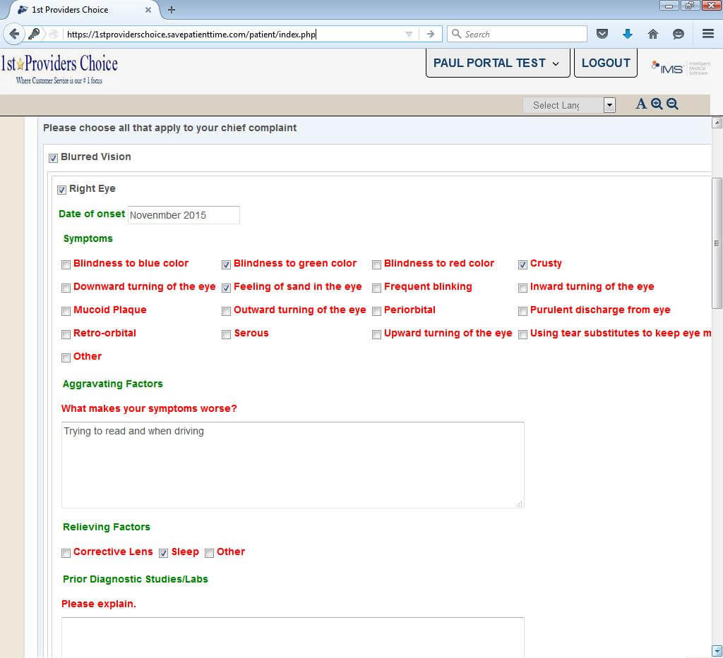 Ophthalmology Patient Portal Chief Complaint Input Screen