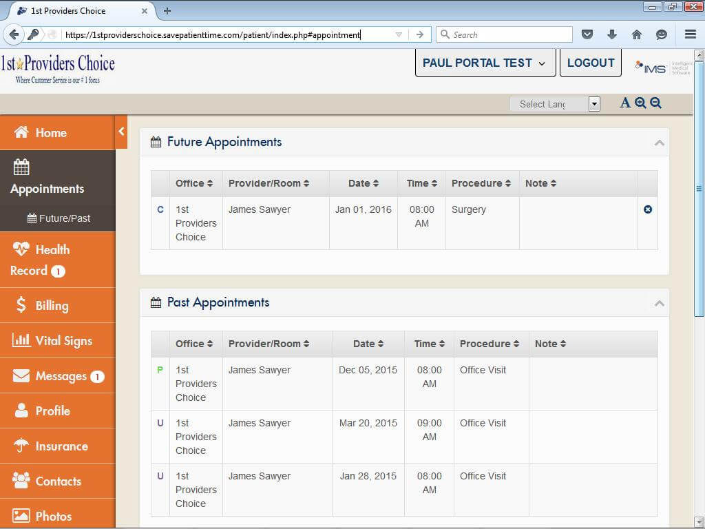 Otorhinolaryngology Patient Portal My Appointments Past & Future